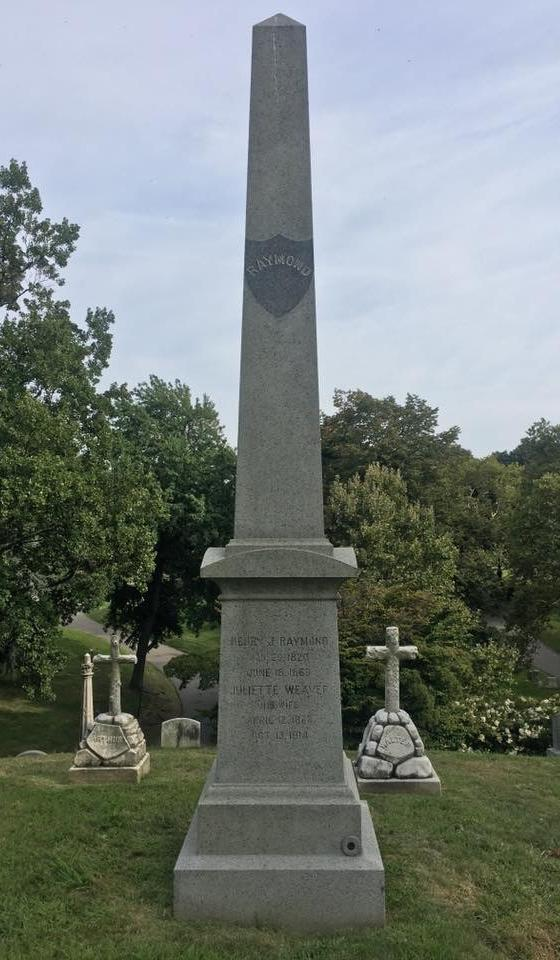 Raymond's grave at Green-Wood Cemetery in Brooklyn