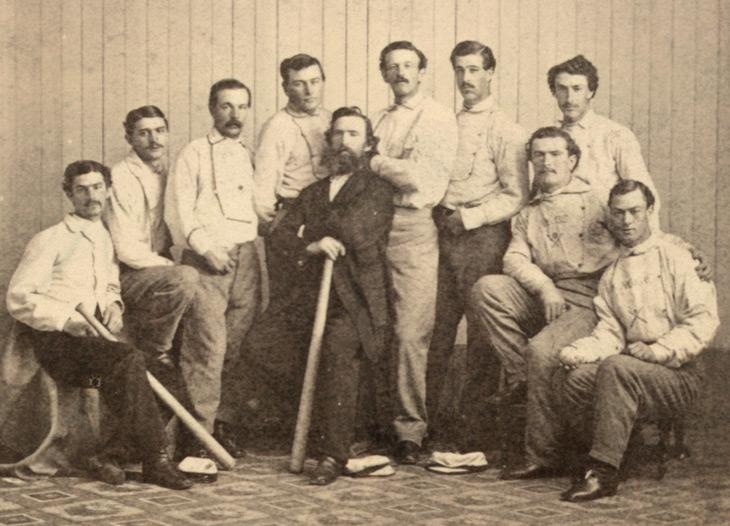 The Brooklyn Atlantics in 1865.  Joe Start is standing 4th from the left.