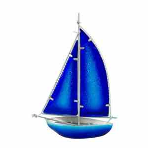 Stained Glass Bermuda-rigged Yacht, blue, 26cm