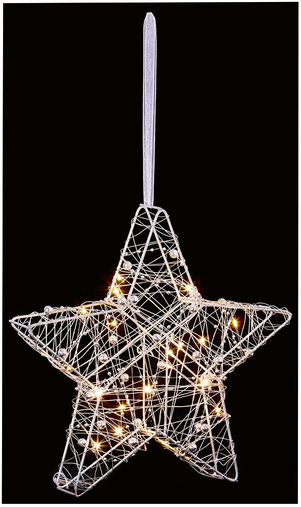 25cm Wire Star Decoration with 20 LEDs