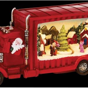 34cm Santa in a Truck with Christmas Scene Decoration