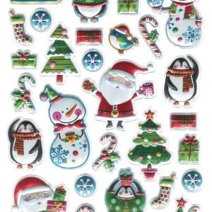 Santa Foil Embossed Christmas Sticker Sheet