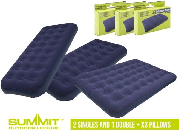 Summit Camping Bed Package 1 – x2 Single Beds / 1x Double Bed / x3 Pillows