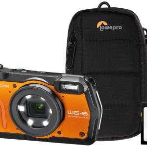 Ricoh WG-6 20MP 5x Zoom Tough Compact Camera, 64GB SD Card & Case – Orange