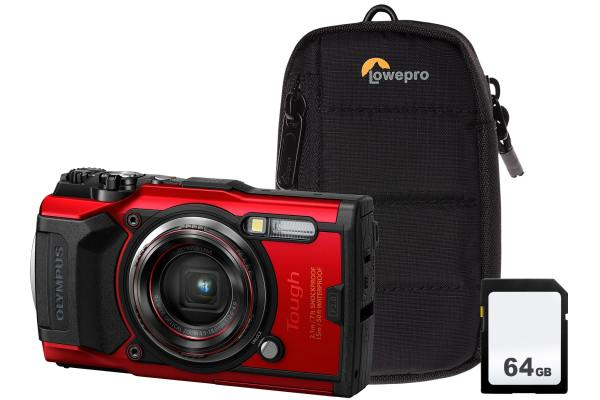 Olympus TG-6 12MP 4x Zoom Tough Compact Camera, 64GB SD Card & Case – Red