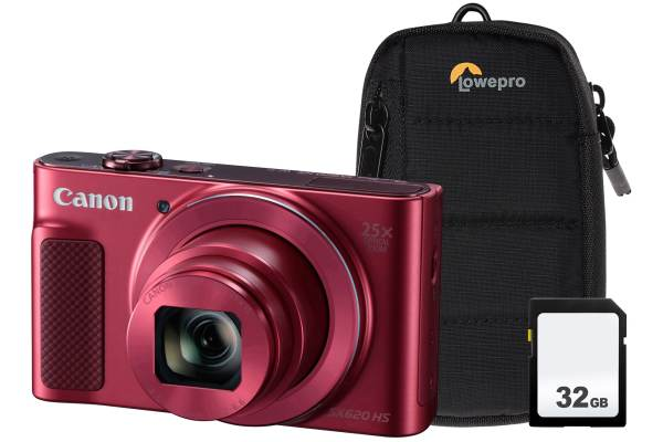 Canon PowerShot SX620 HS 21.1MP 25x Zoom Compact Camera, 32GB SDHC Card & Case – Red