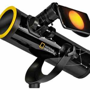 National Geographic 76/350 Reflector Telescope with Sun Filter & Smartphone Adapter – Black