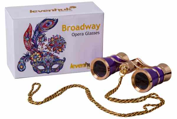 Levenhuk Broadway 325C Amethyst Opera Glasses with Chain