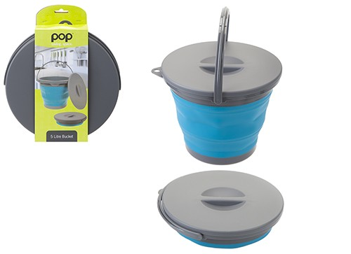 Pop! Collapsible 5L Bucket with Lid – Blue/Grey