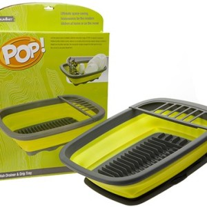 Pop! Dish Drainer With Drip Tray Green / Grey