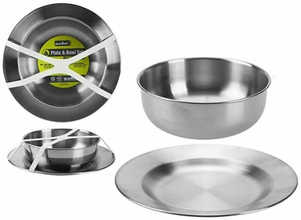 Summit Stainless Steel Plate & Bowl 2 Piece Set For Camping Outdoor Hiking Kitchen