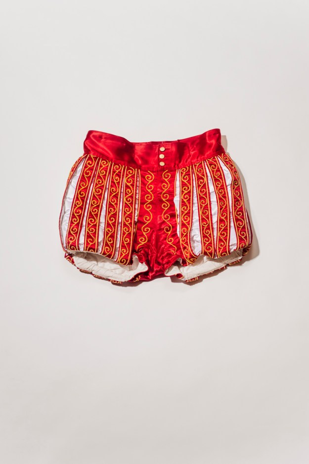 1. The prince wears white tights under these shorts. / 2. The prince's shoes.