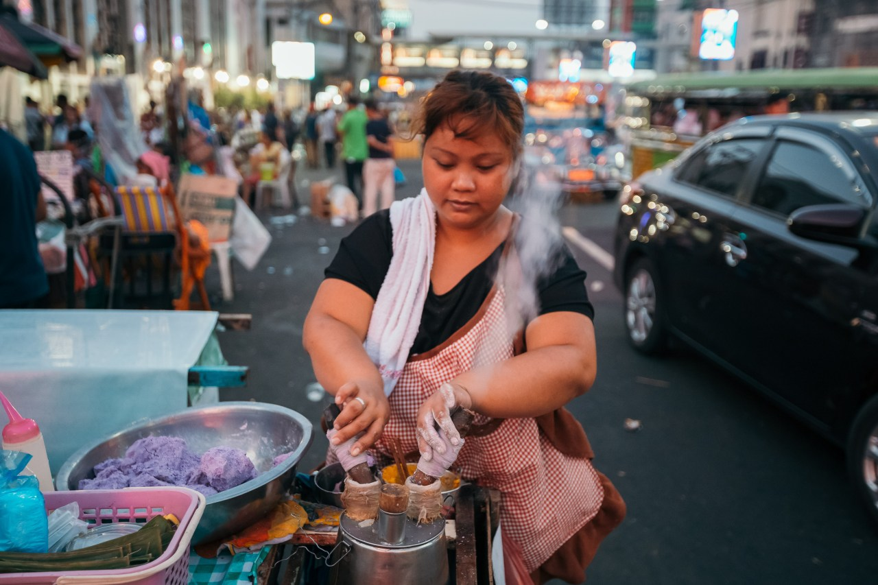 Putobong bong, a purple-colored sticky rice cake, is traditionally eaten after Midnight Mass.