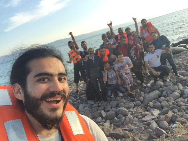 Yilmaz Ibrahim Pasha takes a celebratory selfie shortly after arriving in Lesbos.