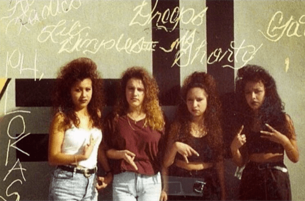 1: Paradise Hills Lokas, pictured in San Diego in the late 80s/early 90s (Photo courtesy of @lavidacalifas/Veteranas and Rucas) / 2: Monique, Monica, Jennifer, Crystal, Julia, and Shavonne, from Norwalk High School, partying in East L.A.: 1996. (Photo courtesy of Veteranas and Rucas)