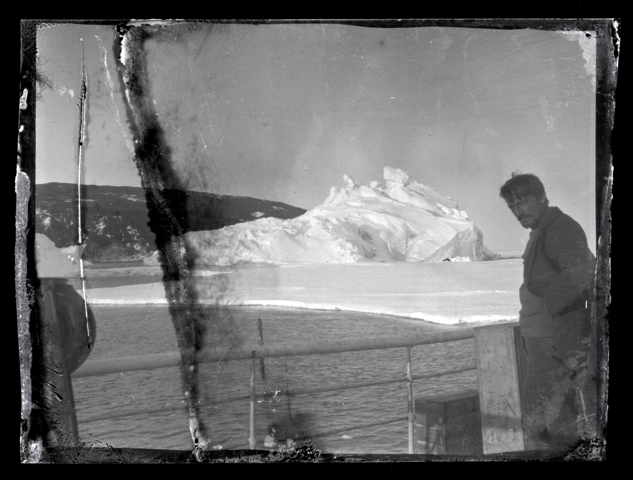 Alexander Stevens on the deck of the Aurora, McMurdo Sound, Antarctica. (Photo courtesy of Antarctic Heritage Trust, www.nzaht.org)