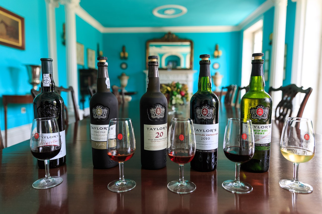 Port tasting at Taylor's Port Wine Cellars. From left to right: 2012 Fladgate Quinta das Vargellas vintage, 1965 single harvest, 20 year old tawny, 2010 Late Bottle Vintage, and Chip Dry white port.