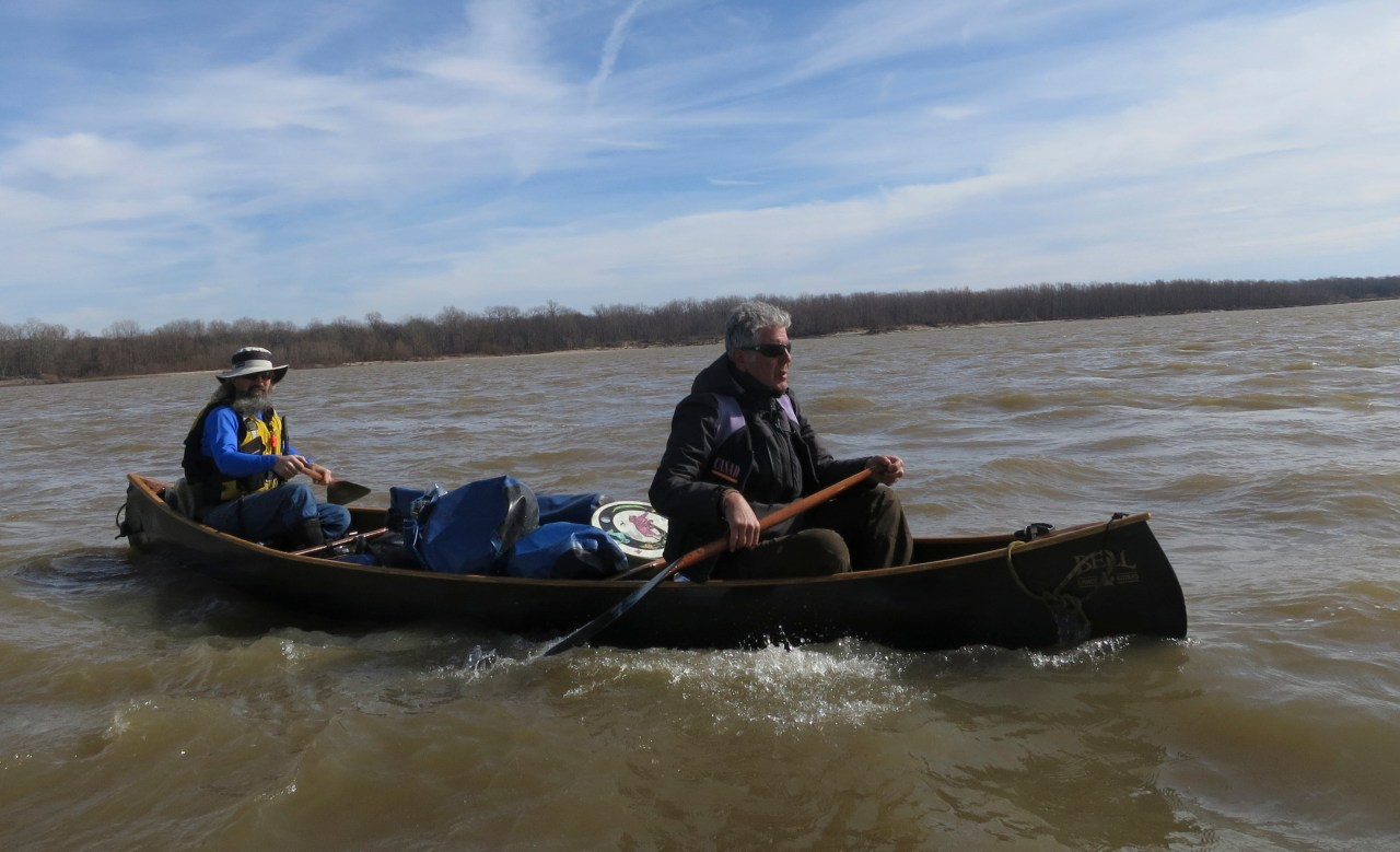 Bourdain with John Ruskey of the Quapaw Canoe Company.