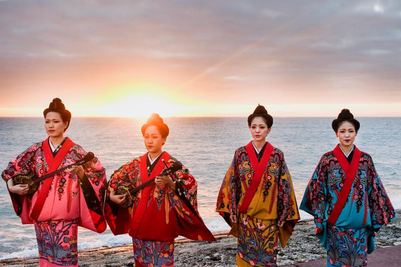 A performance by Nēnēs on a beach in Naha, Okinawa.