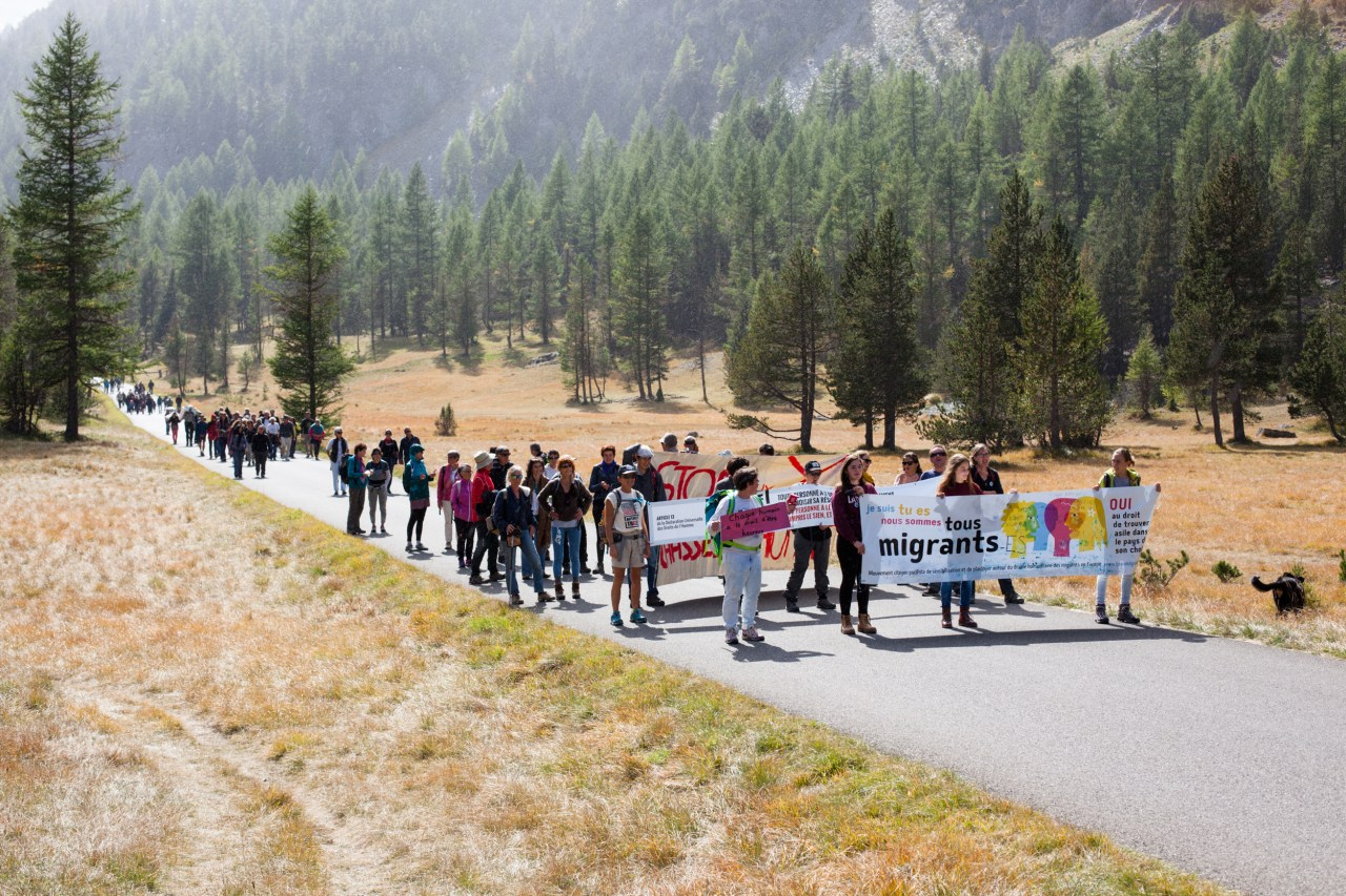 A rally in support of the right to asylum and the free movement of people held at the Échelle mountain pass by the collective Tous Migrants.
