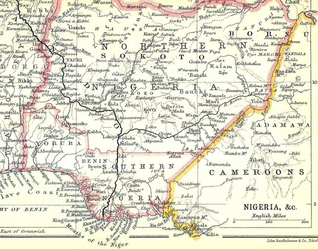 Nigeria, c. 1914. (Courtesy of John Bartholomew & Co. Edinburgh via Wikimedia Commons)