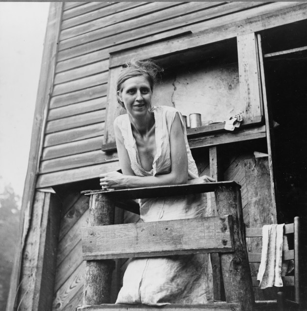 Photo 1: A miner's wife on the porch of their home, an abandoned company store in Pursglove, 1938. Photo 2: Miners eating ice cream. Photos by Marion Post Wolcott.