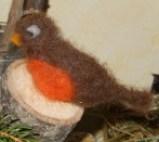rouge-gorge en laine feutrée