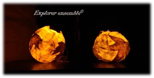 lanternes papier mâché feuilles mortes décorations automne