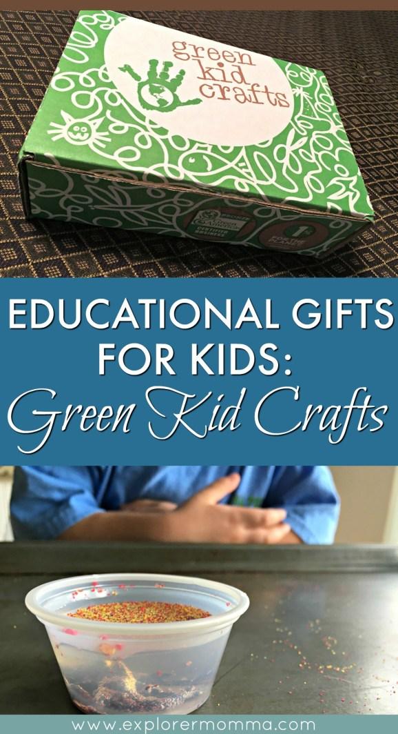 Green kid crafts pin