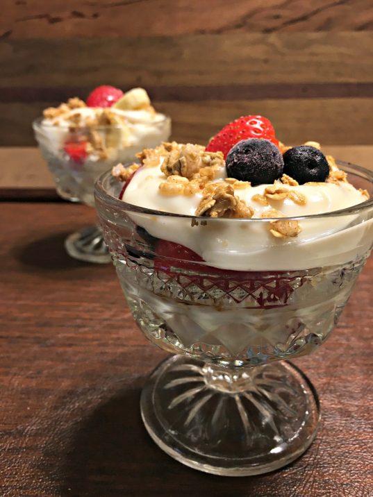 Yogurt parfait side view