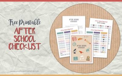 Free Printable After School Checklist