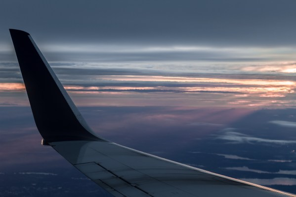Sunset view out airplane window
