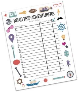 Road trip bag free printable preview