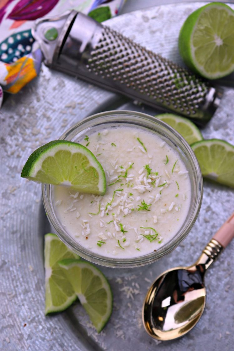 Coconut lime dessert mousse vertical overhead