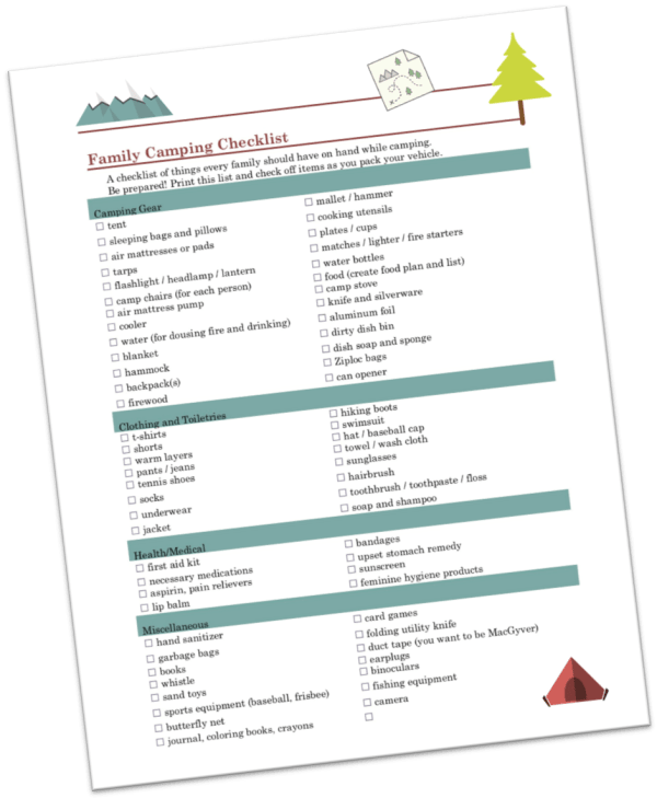 Family camping checklist preview