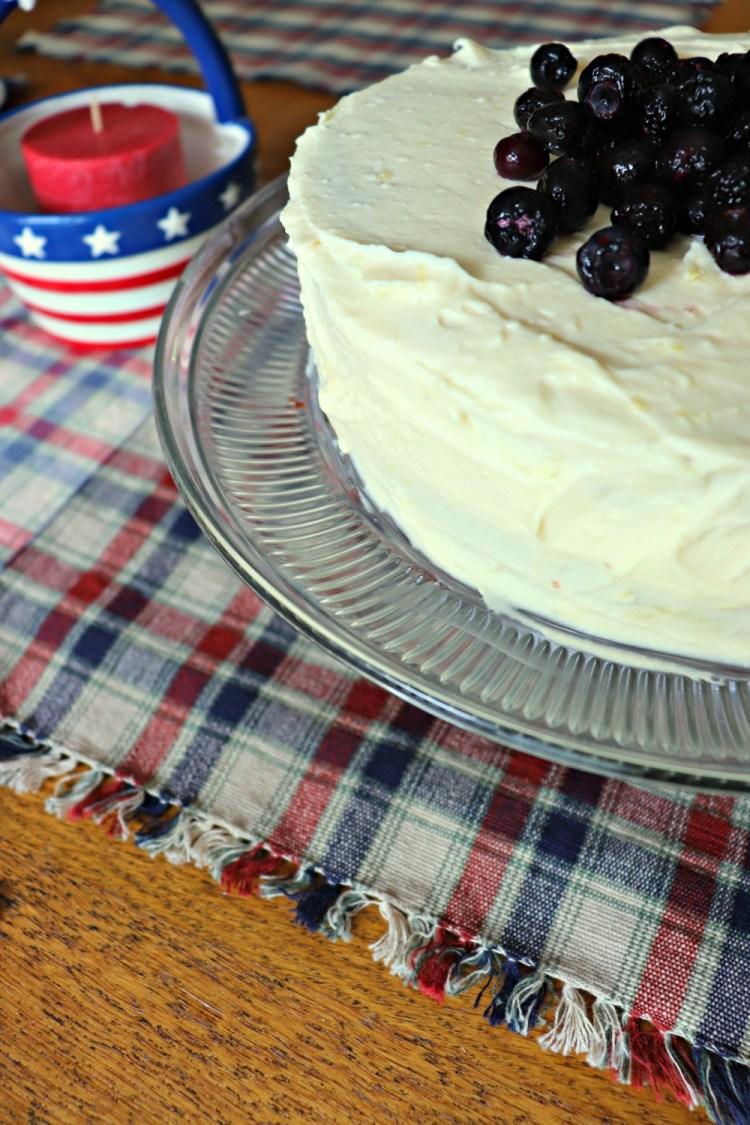 Low Carb Lemon Blueberry Cream Cake, left side