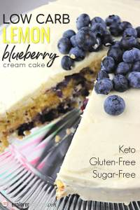 Low carb lemon blueberry cream cake is bursting with flavor and the perfect gluten-free, sugar-free, and keto cake for summer birthdays, Fourth of July, and summer picnics. #ketocake #lowcarbcake