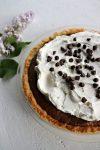 Low carb chocolate pie, closeup, vertical
