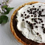 Low carb chocolate pie, closeup, vertical