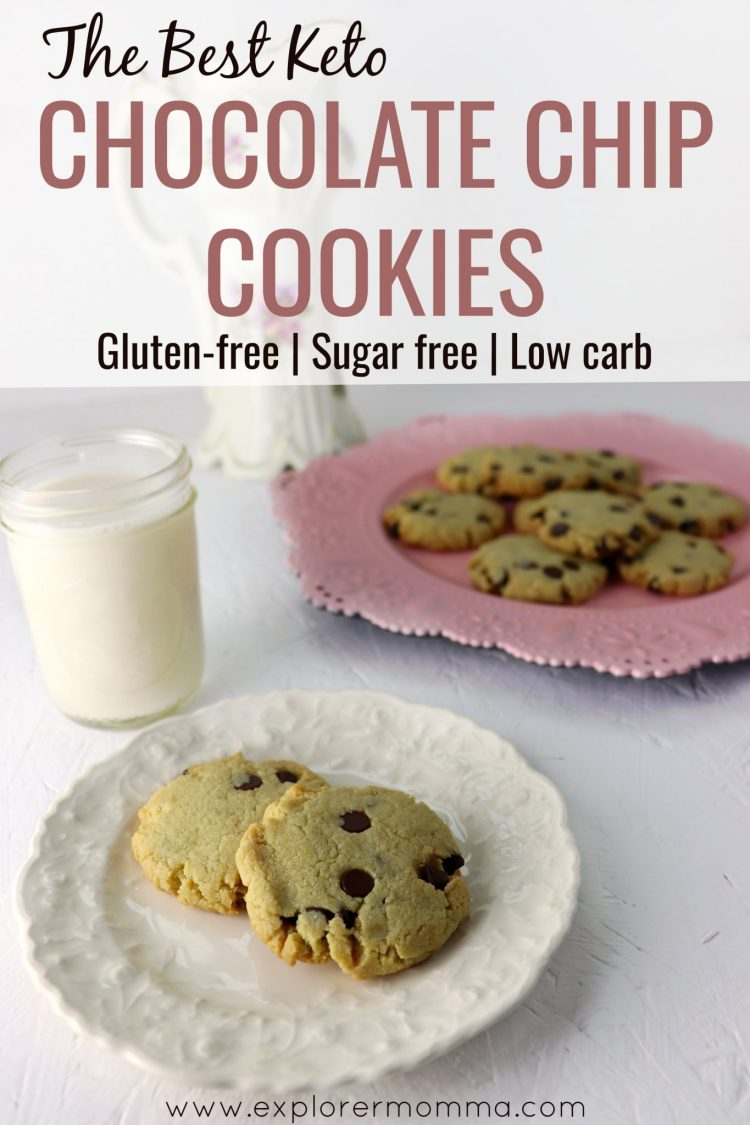 Looking for the best chewy keto chocolate chip cookies? Super easy, gluten free, chewy goodness. Try this recipe for a perfect low carb snack. #lowcarb #keto #glutenfree #explorermomma