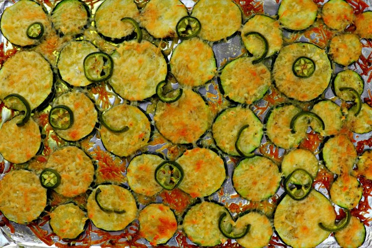 Baked low carb grilled garlic parmesan zucchini pan