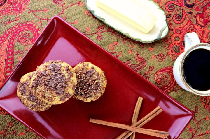 Low carb coffee cake muffins, overhead stack