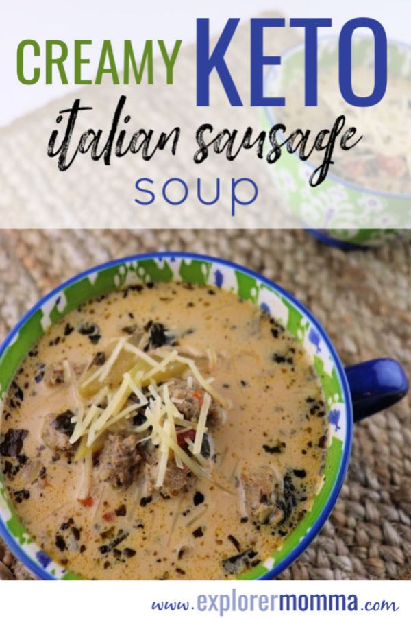 Creamy Keto Italian Sausage Soup. Easy, low carb, and delicious, this gluten free recipe will have your family asking for more! #ketosouprecipes #lowcarbrecipes