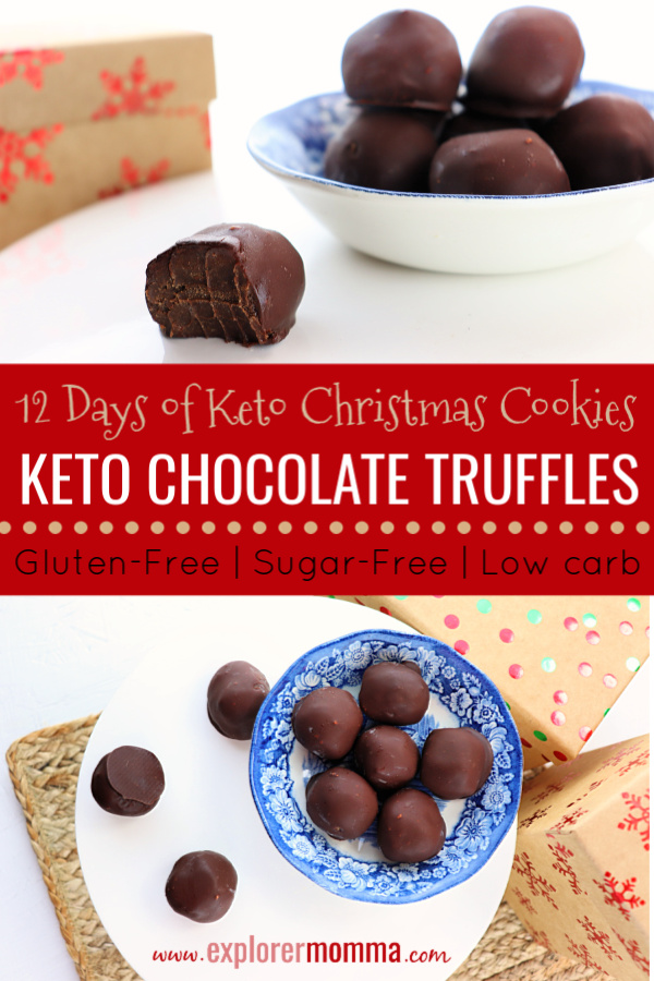 Keto Chocolate Truffles are decadent chocolate goodness in a low carb, gluten-free, sugar-free bundle. Perfect for holiday parties and to help on your keto diet journey. #ketochocolate #lowcarbtruffles
