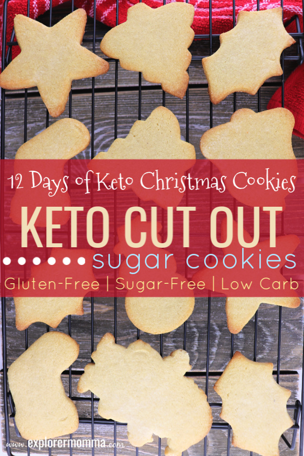 Keto Cut Out Sugar Cookies are so fun for kids and family activity at Christmas or any holiday. Buttery low carb cookies to hold the perfect holiday shapes. #ketocookies #lowcarbdesserts
