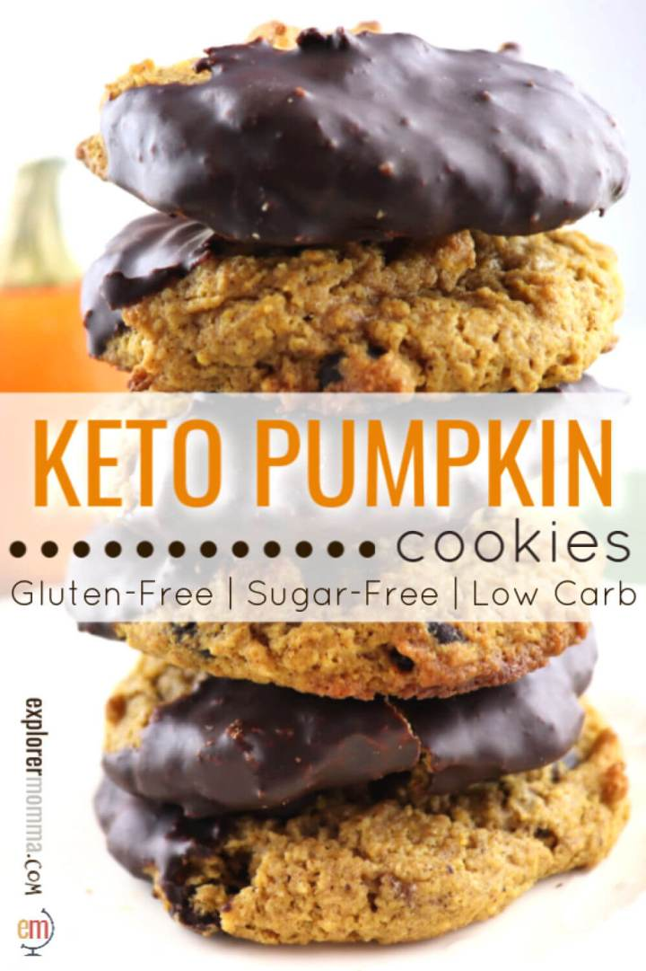 Delicious keto pumpkin cookies are the perfect fall spiced low carb dessert. Super kid-friendly, gluten-free, sugar-free treats. #ketocookies #ketodessertrecipes #lowcarbrecipes