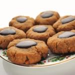 Keto peanut butter cookies on a Christmas plate. #peanutbuttercookies #ketodiet