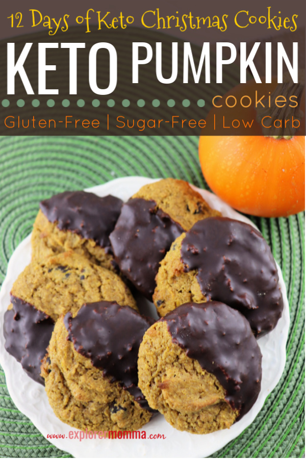 Low carb pumpkin cookies combine spice, chocolate and goodness in keto, gluten-free, sugar-free packages. Soft and kid-friendly and sure to please! #ketocookies #pumpkincookies