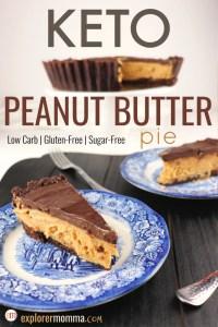Keto Peanut butter pie, pieces of pie on blue plates in front of the entire pie