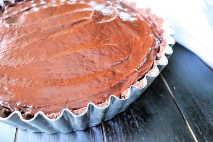 Keto peanut butter pie with ganache topping #ketopie #peanutbutterpie